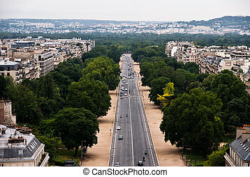 Paris Overview - Paris city top overview of the residential...