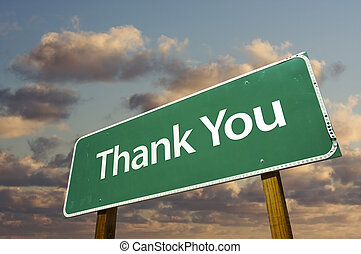 Thank You Green Road Sign Over Clouds - Left Facing Thank...