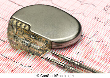 Electrocardiograph with pacemaker - Close up of a pacemake...