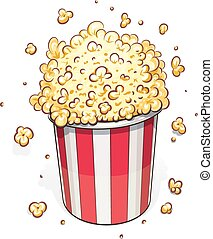 Popcorn in striped basket. Eps10 vector illustration....