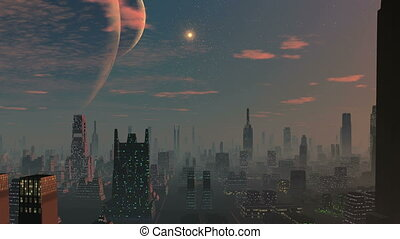 City of aliens, two moons - Night city shrouded in haze...