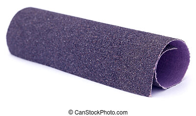 Sand paper roll over white background