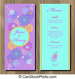Winter snowflakes design wedding menu card. Wedding Vector illustration
