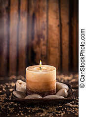 Burning candle for aromatherapy session