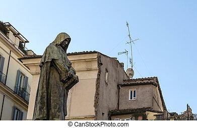 The heretic Giordano Bruno - The statue of Giordano Bruno...