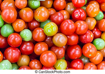 Alot of colorful tomatoes background
