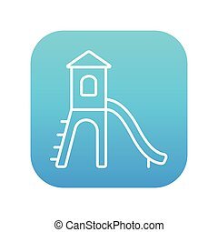 Playground with slide line icon - Playground with slide line...