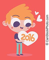 Cute Boy Hugging the Upcoming New Year 2016 - Vector...