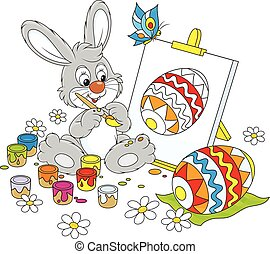 Easter Bunny painter - Happy little rabbit drawing a...