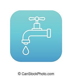 Dripping tap with drop line icon - Dripping tap with drop...