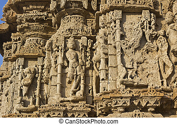 Temple wall carving - FEB 09, 2015, DWARKA, INDIA - Wall of...