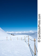 Summit of snow mountain in Switzerland in summer