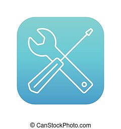 Screwdriver and wrench tools line icon - Screwdriver and...