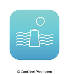 Solar energy and hydropower line icon - Sun and water waves...