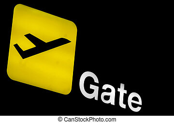 Airport gate sign