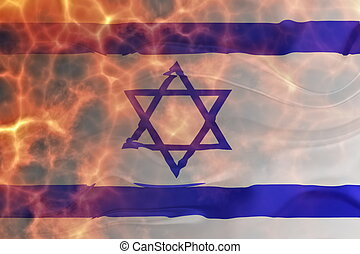 Flag of Israel wavy burning - Flag of Israel, national...
