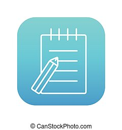 Writing pad and pen line icon.