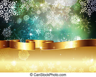 Green Background with Snowflakes - Winter illustration with...