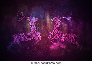 Ornamental Deer Background - Celebration background with...