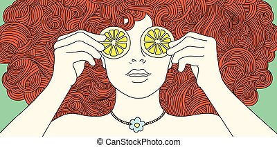 Portrait girl with curly red hair, covered her eyes with...