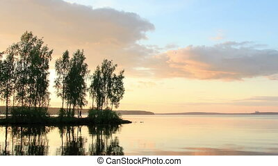 Sunset over the Beloyarsk reservoir. Beloyarsk, Sverdlovsk...
