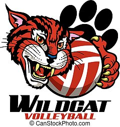 wildcat volleyball team design with mascot and paw print for...