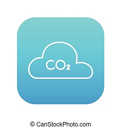 CO2 sign in cloud line icon - CO2 sign in cloud line icon...