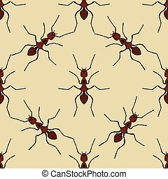 Seamless pattern with ant .Formica exsecta. hand-drawn ant....
