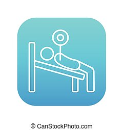 Man lying on bench and lifting barbell line icon - Man lying...