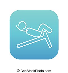 Man doing crunches on incline bench line icon. - Man doing...