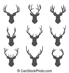 Set of deer silhouettes - Set of deer Set of deer...