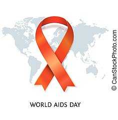 Vector AIDS ribbon on world map