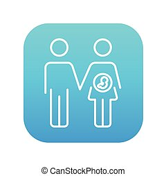 Husband with pregnant wife line icon. - Husband with...