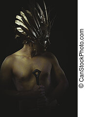 warrior helmet and gold feathers, giant iron sword