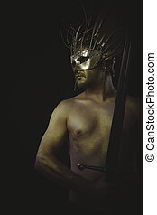 medieval, warrior helmet and gold feathers, giant iron sword
