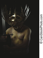 vintage warrior helmet and gold feathers, giant iron sword