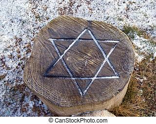 estrella, david, grabado, madera, -, judaísmo