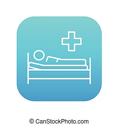 Patient lying on bed line icon. - Patient lying on the bed...