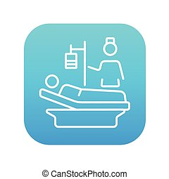 Nursing care line icon - Nurse attending a patient lying on...