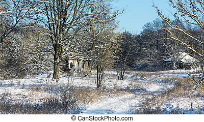 Hamlet - Winter rural landscape with old deserted hamlet