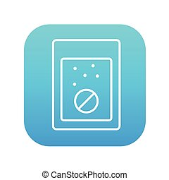 Tablet into glass of water line icon - Tablet into a glass...