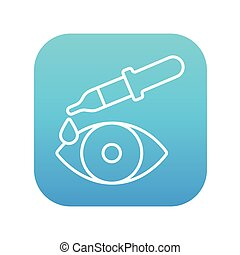 Pipette and eye line icon - Pipette and eye line icon for...