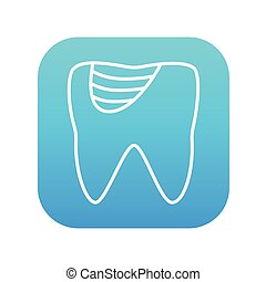 Tooth decay line icon - Tooth decay line icon for web,...