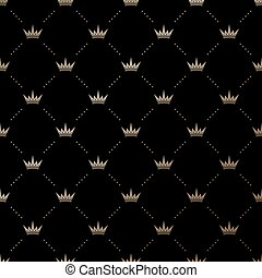 Seamless vector gold pattern with king crowns on a black...