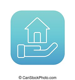 House insurance line icon - House insurance line icon for...