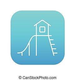 Playhouse with slide line icon - Playhouse with slide line...