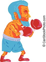 Bearded Boxer Boxing Cartoon WPA - WPA style illustration of...
