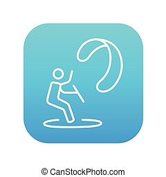Kite surfing line icon. - Kite surfing line icon for web,...