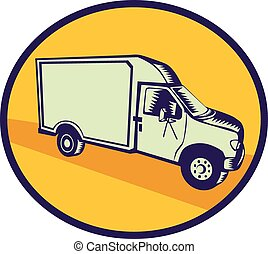 Closed Delivery Van Woodcut - Illustration of a closed...