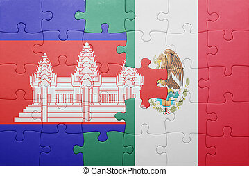 puzzle with the national flag of cambodia and mexico ....